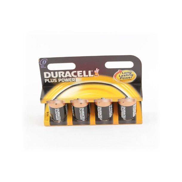 Duracell Batteri, Power Plus 4KP D, 1,5V, 4 stk