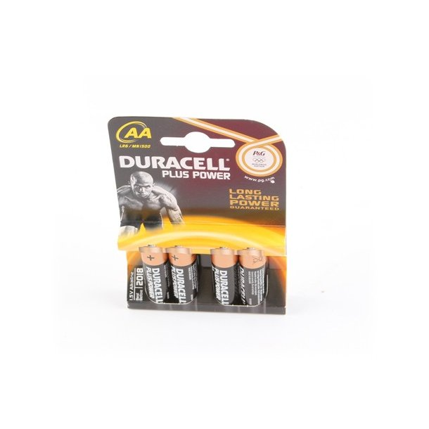 Duracell Batteri, Power Plus 4KP AA, 1,5V, 4 stk.