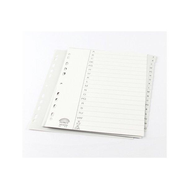 Alfabetisk register A4, plast, grå.